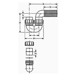 valsir Siphon+Bundverschraubung PE 63mm