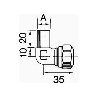 Winkelkupplung mit Verschraubung 10/12mm